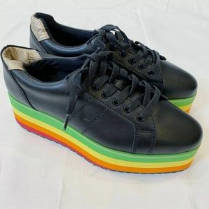 NWOT Very Volatile Black Rainbow Platform Sneakers